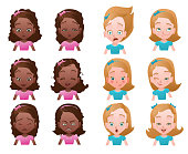 Set of female emoticons or avatars with small girl portraits wit