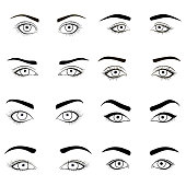 Set of female eyes and brows black image . Vector illustration