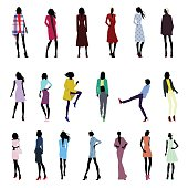 Set of female poses