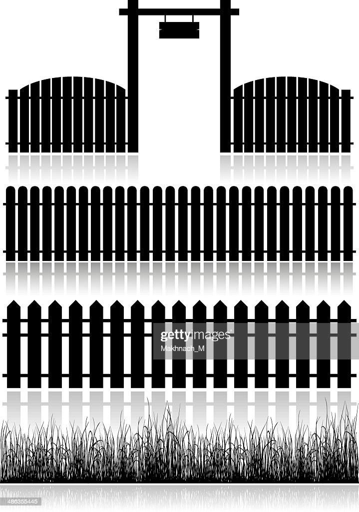 Set Of Fences, Gate And Grass