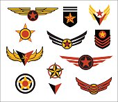 set of fictional military emblems. vector illustration.