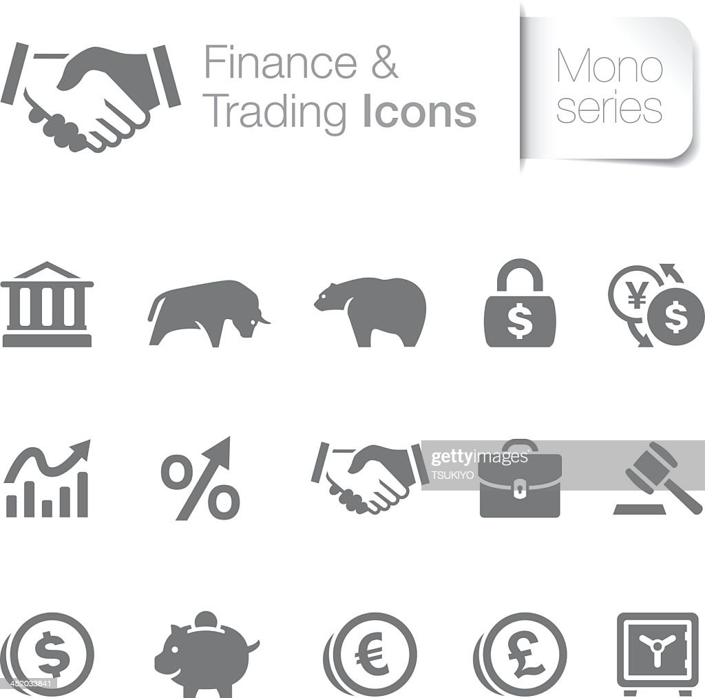Set of fifteen gray finance and trading icons