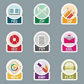 Set of file type icons