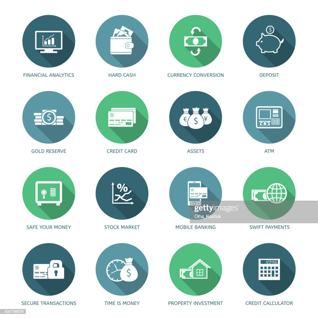 Set of finance and money icons.