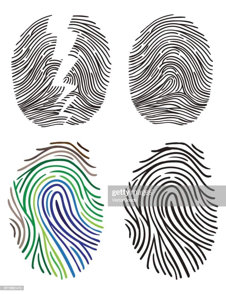 Set of fingerprint vector flat line icons.