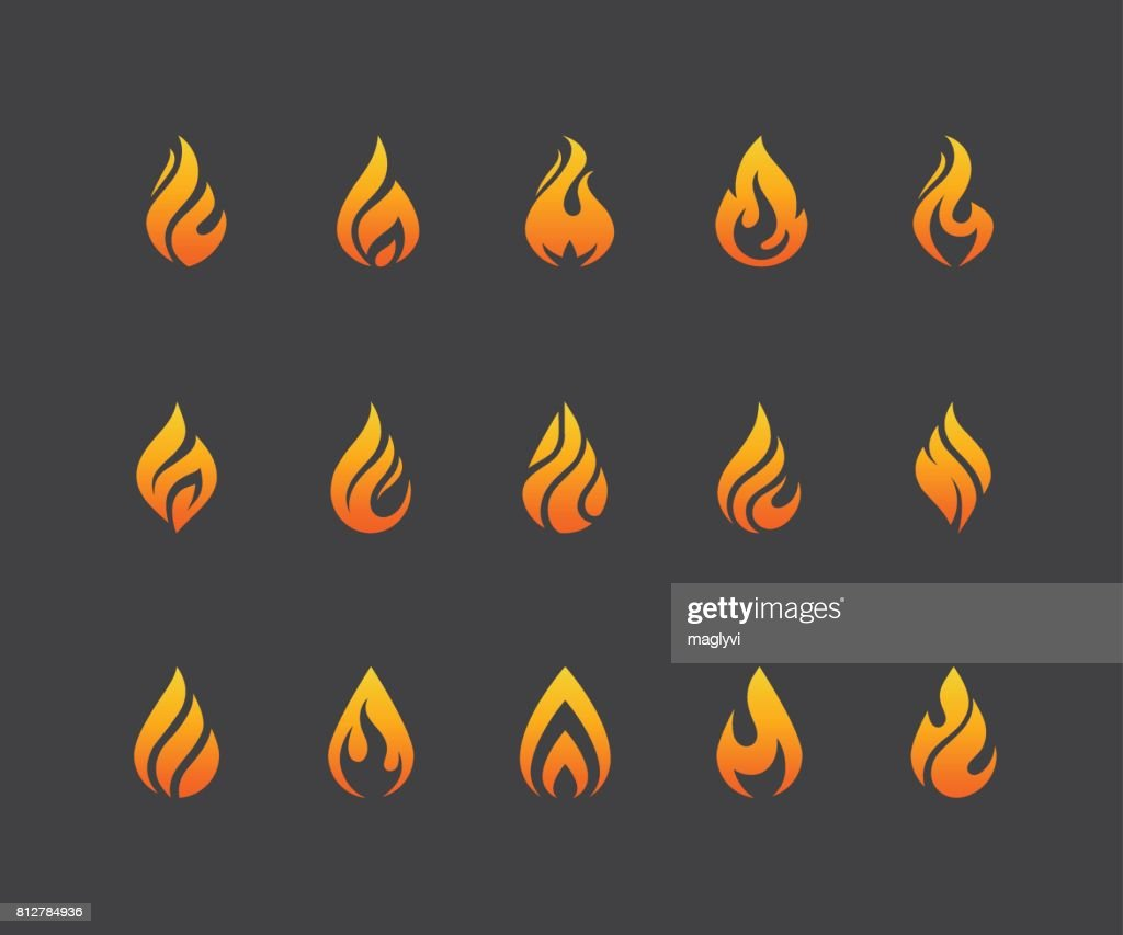 Set of fire flame icons isolated on black background.