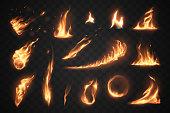Set of fire flames elements on transparent background