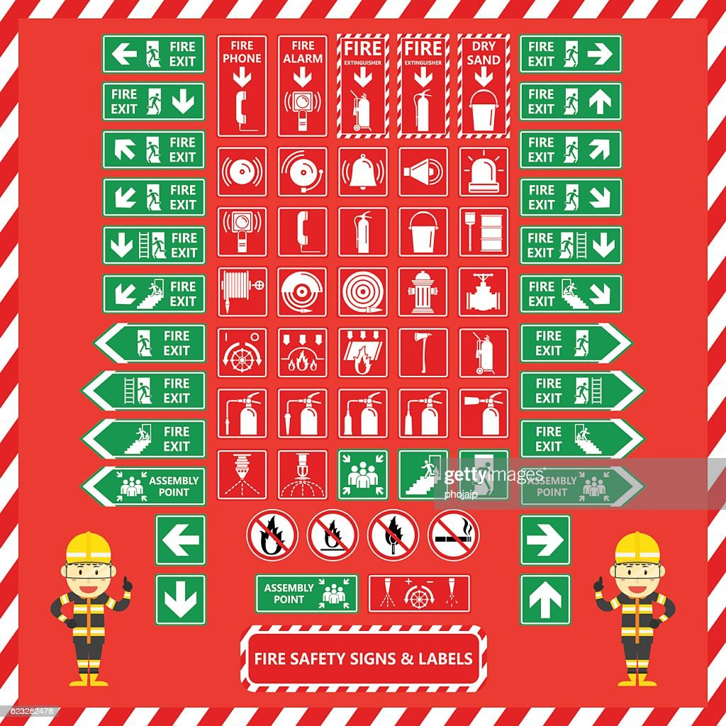 Set of Fire Safety Signs and Labels