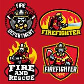 set of firefighter badge design