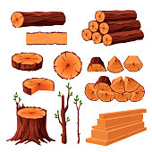Set of firewood materials for lumber industry isolated on white background. Collection of wood logs stubs tree trunk branches boards. Stump and planks wooden in sawmill - flat vector illustration