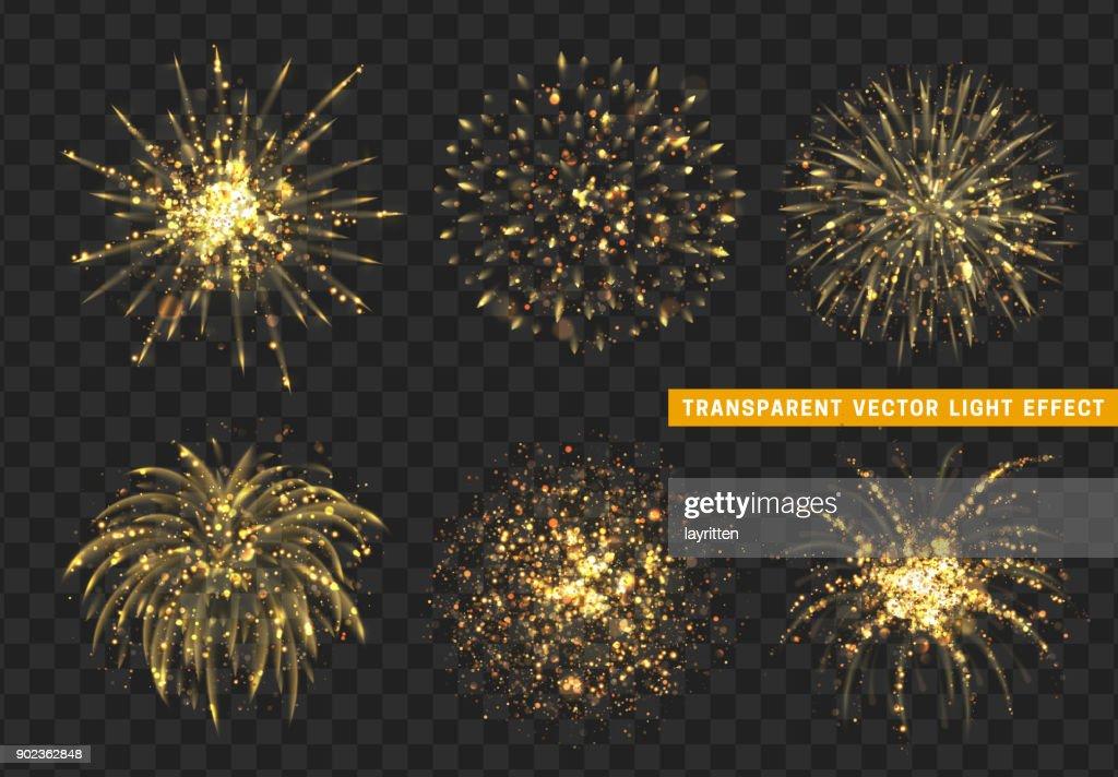 Set of Firework gold isolated. Xmas decoration. Holiday design element.