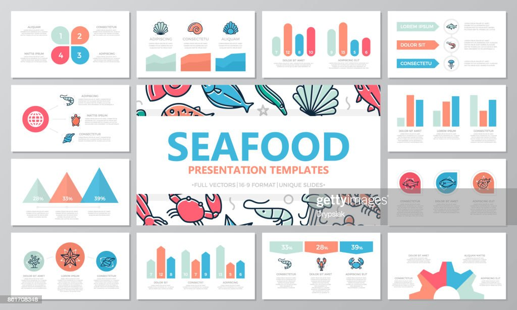 Set of fish and sea food elements for multipurpose presentation template slides with graphs and charts. Leaflet, corporate report, marketing, advertising, annual report, book cover design.