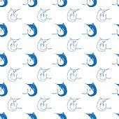 Set of Fish. Marlin Seamless Pattern