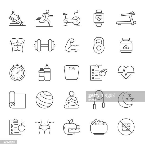 set of fitness, gym and healthy lifestyle related line icons. editable stroke. simple outline icons. - healthy lifestyle stock illustrations