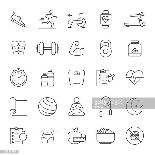 ilustraciones, imágenes clip art, dibujos animados e iconos de stock de conjunto de iconos de línea relacionada con el fitness, el gimnasio y el estilo de vida saludable. trazo editable. iconos de contorno simples. - estilo de vida saludable