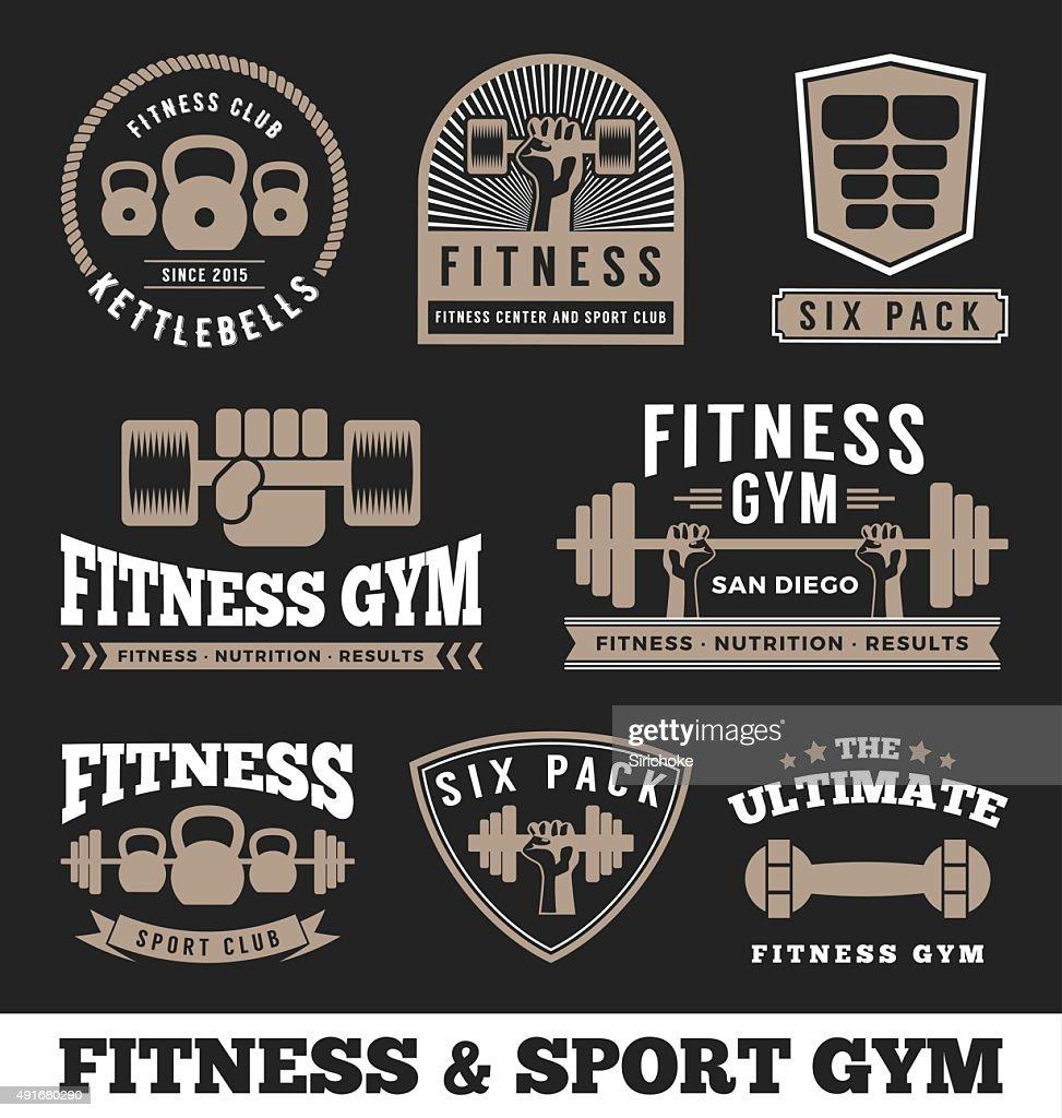 Set of fitness gym and sport club logo emblem