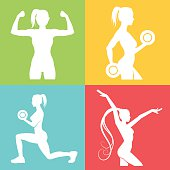 Set of fitness logo with woman silhouettes