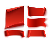 Set of five red, realistic, paper banners.