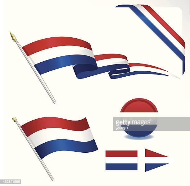 a set of flags associated with the netherlands - pennon stock illustrations