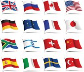 Set of flags from countries of different continents