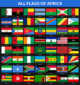 Set of flags of all African countries. Flat style