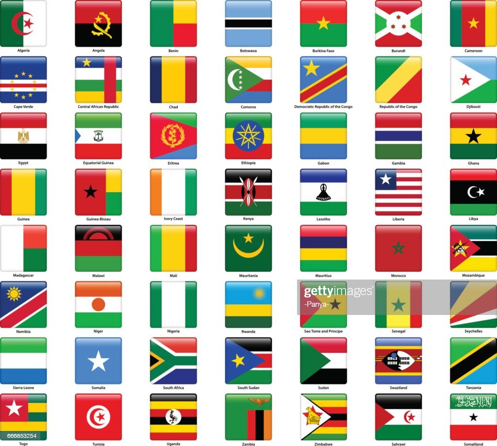 Set of flags of all African countries. Glossy square style