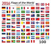 Set of flags of different countries.