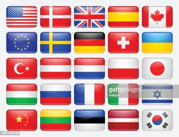 satz von flags - polnische flagge stock-grafiken, -clipart, -cartoons und -symbole