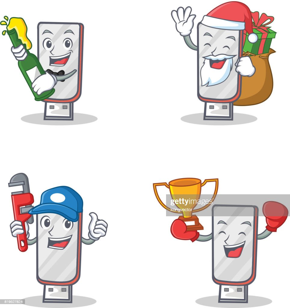 Set of flash disk character with beer gift plumber winner vector illustration
