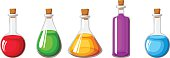 Set of flasks with colorful liquids. Vector illustration.