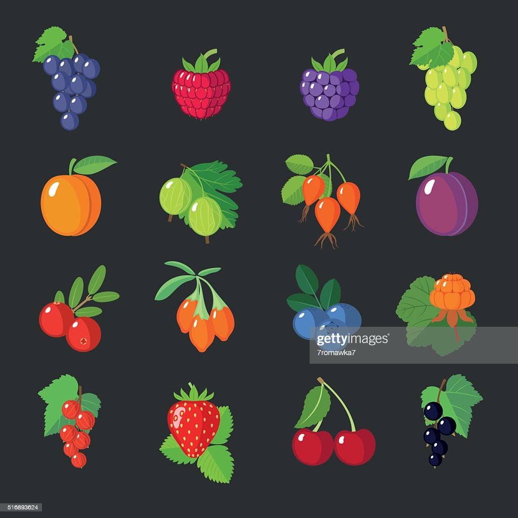 Set of flat berries.