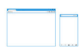 Set of Flat blank browser windows for different devices. Vector. Computer, tablet, phone sizes.