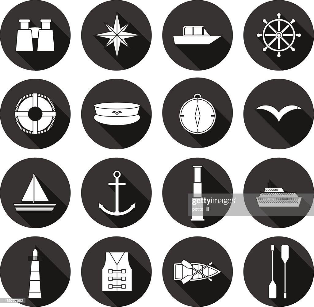 Set of flat boating icons: binoculars, boat, lifebuoy, captain hat