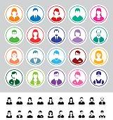 Set of flat business avatar icons