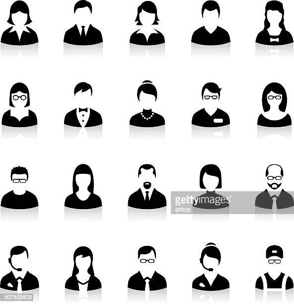 set of flat business avatar icons - professional occupation stock illustrations