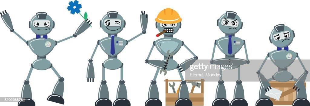 Set of flat cartoon robots