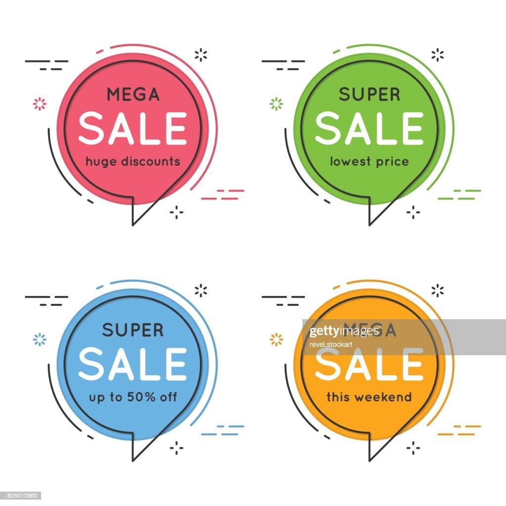 Set of flat circle speech bubble shaped banners, price tags, sti