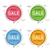 Set of flat circle speech bubble shaped banners, price tags, sti