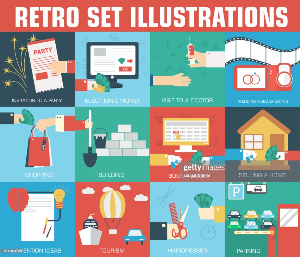 set of flat communication concepts illustrations. Vector background