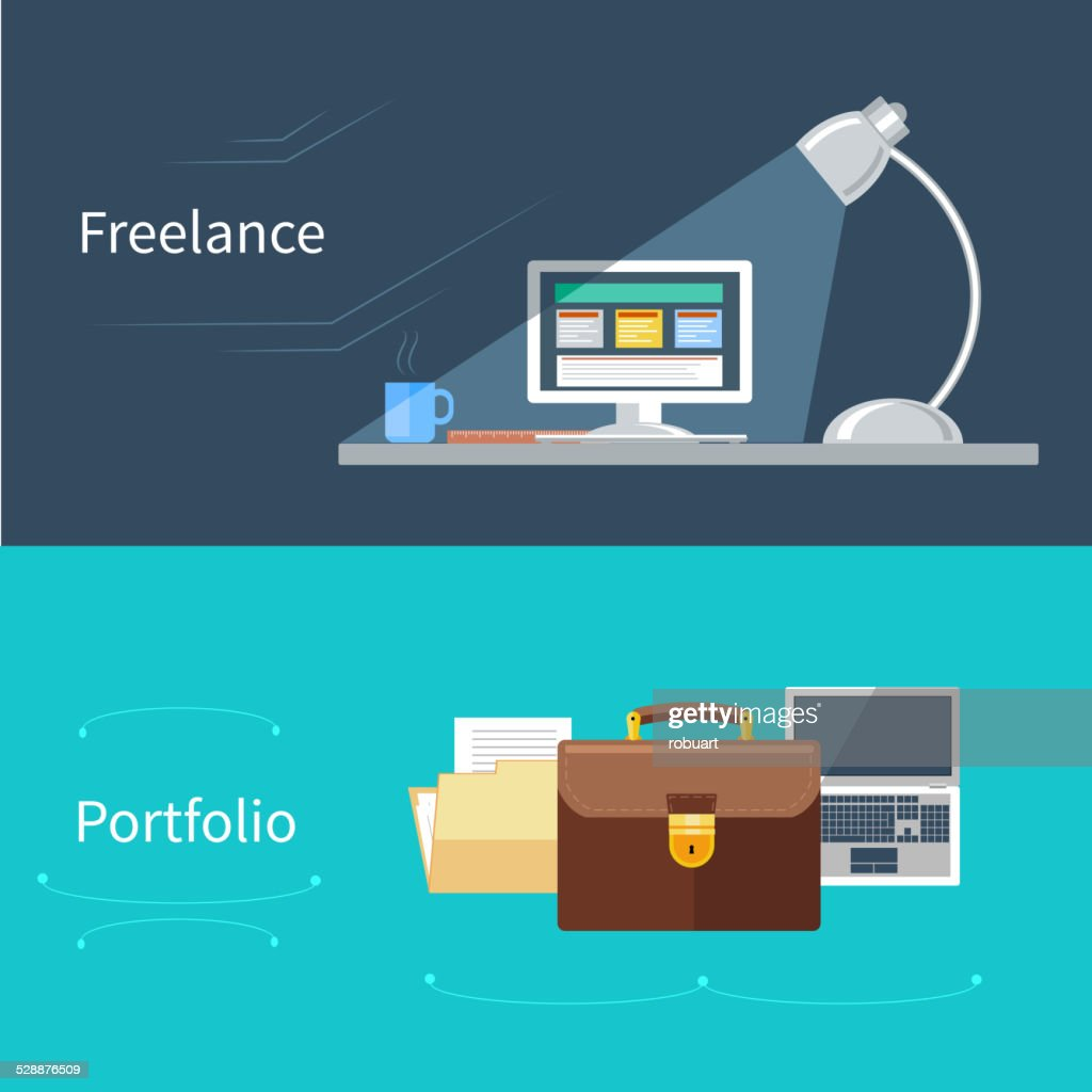 Set of flat concept for portfolio and freelance