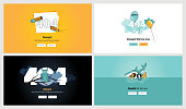 Set of flat design 404 error page templates