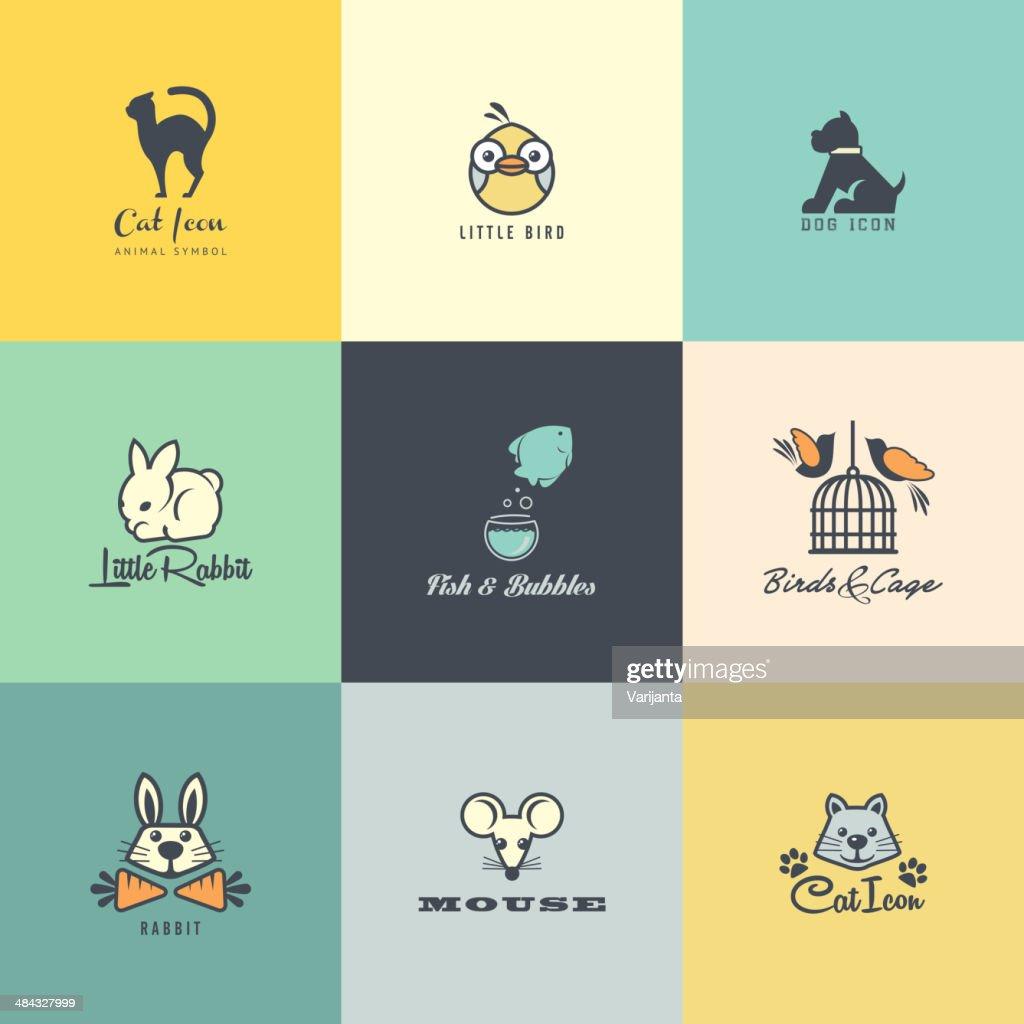 Set of flat design animal icons