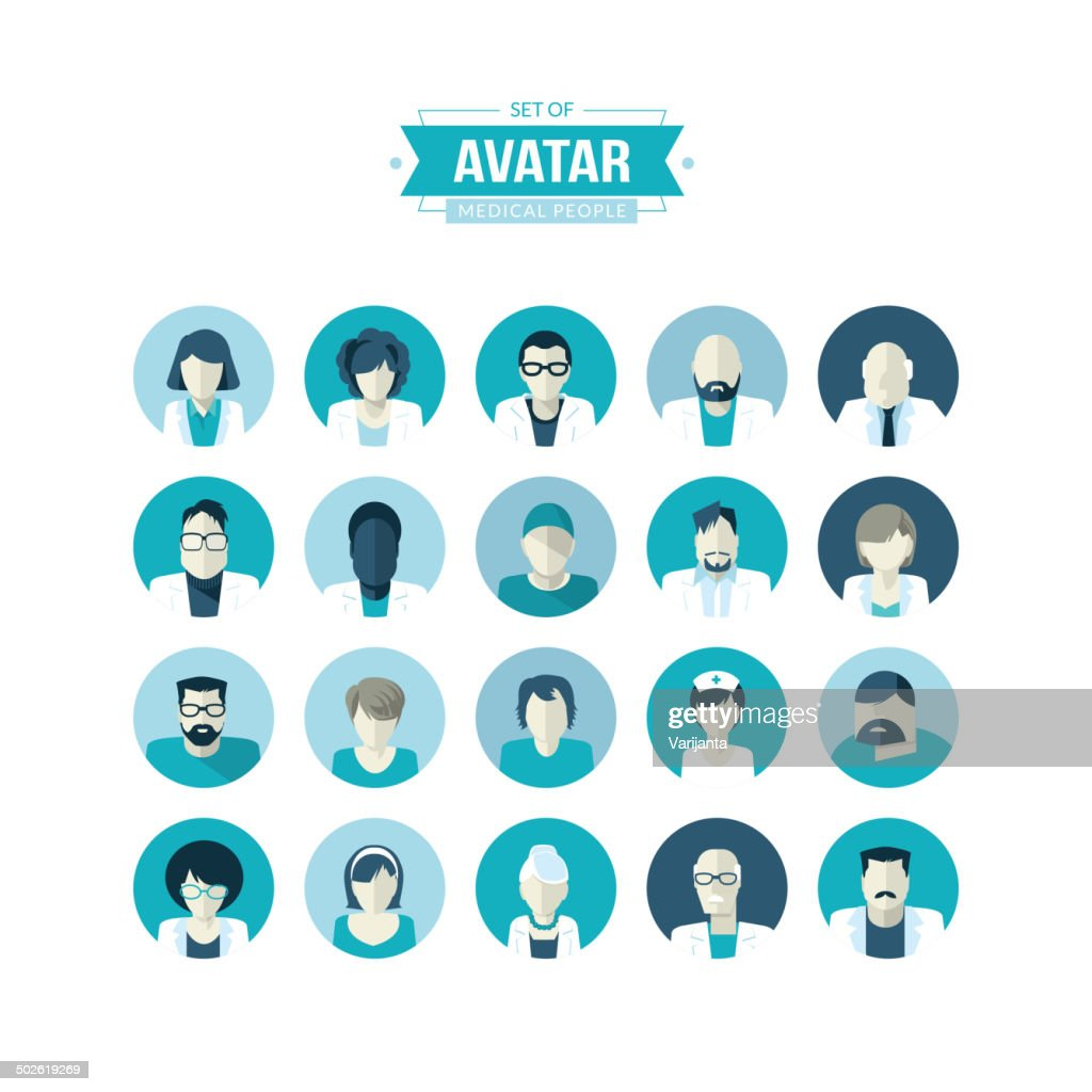 Set of flat design avatar icons for medicine