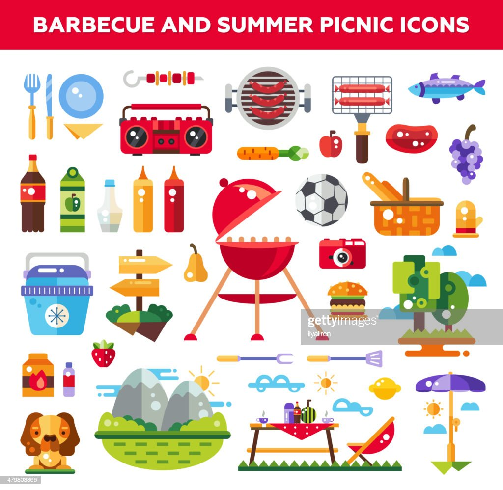 Set of flat design barbecue and summer picnic icons, infographics