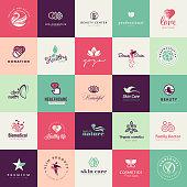 Set of flat design beauty icons