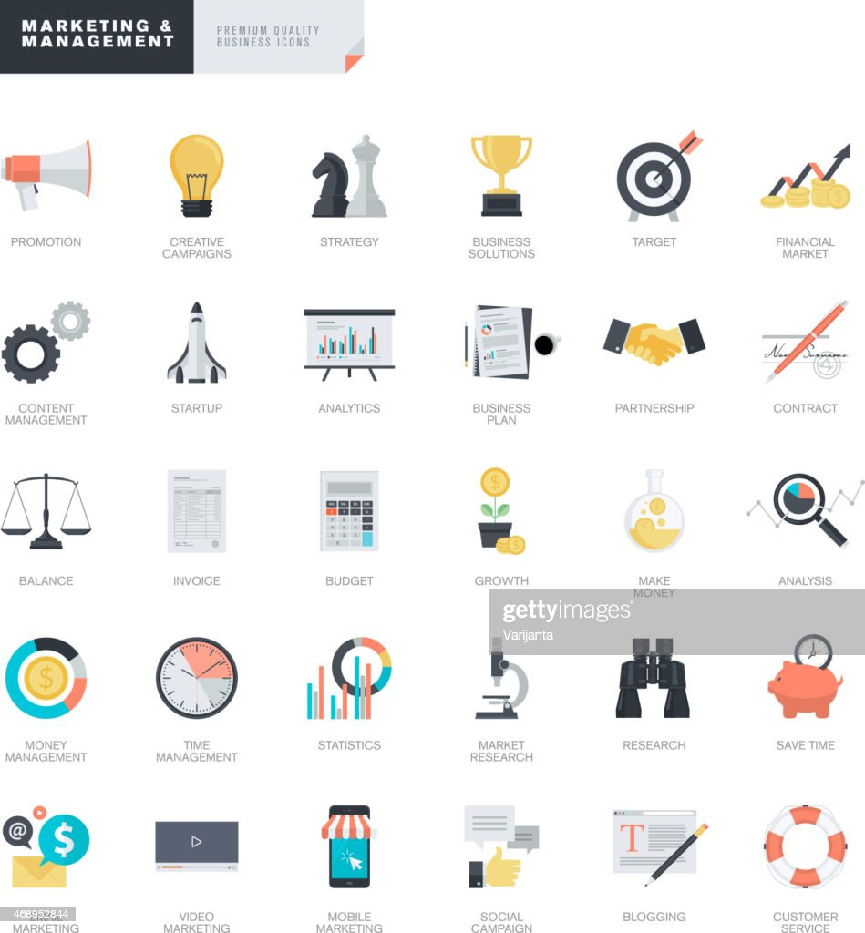 Set of flat design business and marketing icons for designers