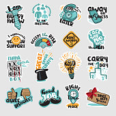 Set of flat design business stickers