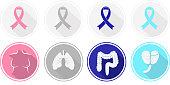 Set of flat design Cancer and human organ icons.