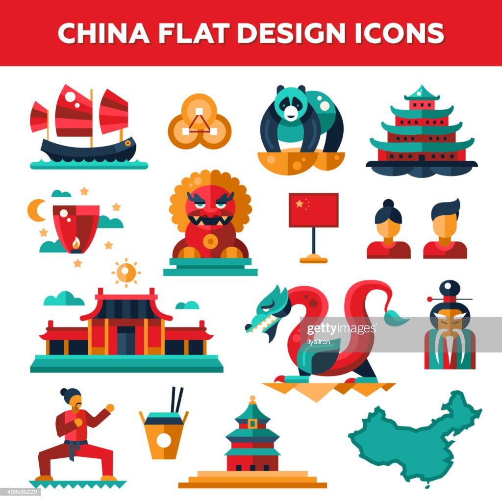 Set of flat design China travel icons, infographics elements with