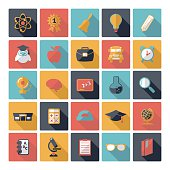 Set of flat design concept icons for education